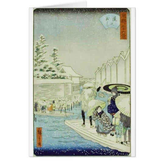 Vintage Japanese Winter on Water Woodblock Art Card