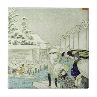 Vintage Japanese Winter on Water Woodblock Art Tile