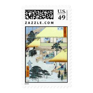 Vintage Japanese Winter Woodblock Art Ukiyo-E Stamp
