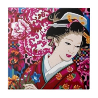 Vintage Japanese Woman in Kimono Ceramic Tile