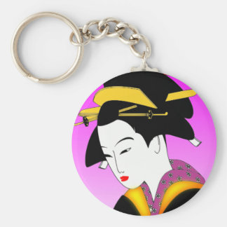 Vintage Japanese Woman in Kimono Keychain