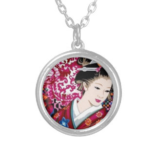 Vintage Japanese Woman in Kimono Silver Plated Necklace