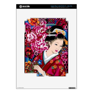 Vintage Japanese Woman in Kimono Skins For iPad 3