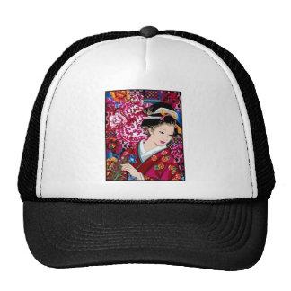 Vintage Japanese Woman in Kimono Trucker Hat