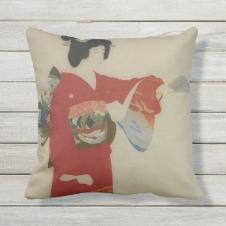 Vintage Japanese woman in red kimono Throw Pillow