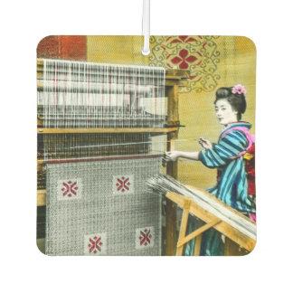 Vintage Japanese Woman Using a Silk Weave Mill Car Air Freshener