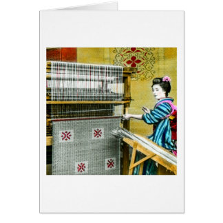 Vintage Japanese Woman Using a Silk Weave Mill Card
