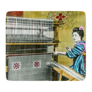 Vintage Japanese Woman Using a Silk Weave Mill Cutting Board