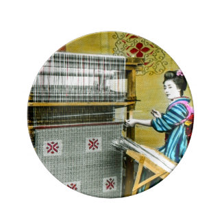 Vintage Japanese Woman Using a Silk Weave Mill Dinner Plate