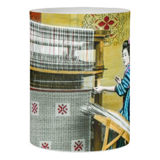 Vintage Japanese Woman Using a Silk Weave Mill Flameless Candle