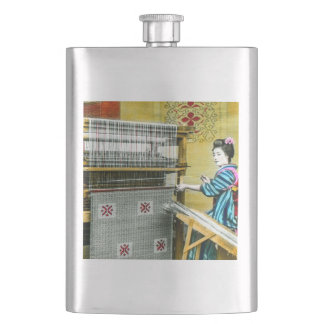 Vintage Japanese Woman Using a Silk Weave Mill Hip Flask