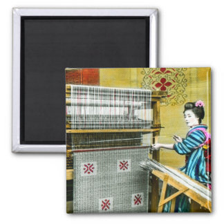 Vintage Japanese Woman Using a Silk Weave Mill Magnet