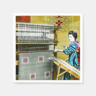 Vintage Japanese Woman Using a Silk Weave Mill Napkin
