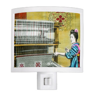 Vintage Japanese Woman Using a Silk Weave Mill Night Light