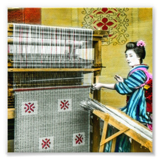 Vintage Japanese Woman Using a Silk Weave Mill Photo Print