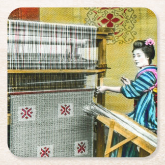 Vintage Japanese Woman Using a Silk Weave Mill Square Paper Coaster
