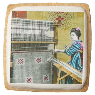 Vintage Japanese Woman Using a Silk Weave Mill Square Shortbread Cookie