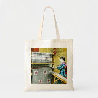 Vintage Japanese Woman Using a Silk Weave Mill Tote Bag