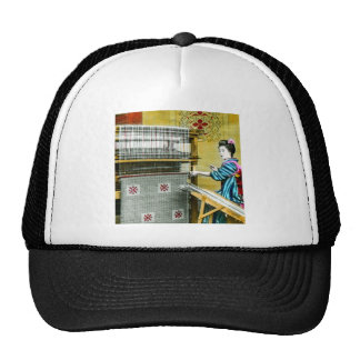 Vintage Japanese Woman Using a Silk Weave Mill Trucker Hat