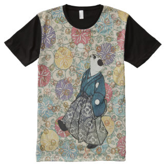 Vintage Japanese Woodblock Paper Print Cat All-Over-Print Shirt