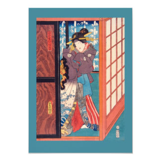 Vintage Japanese Woodblock Woman at Door Card