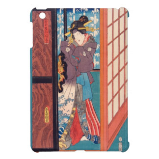 Vintage Japanese Woodblock Woman at Door Cover For The iPad Mini