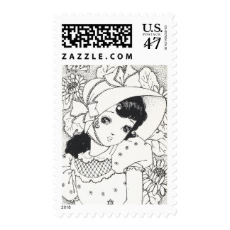 Vintage japaneses manga kawaii girl ink tattoo postage