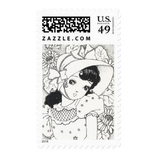 Vintage japaneses manga kawaii girl ink tattoo stamp