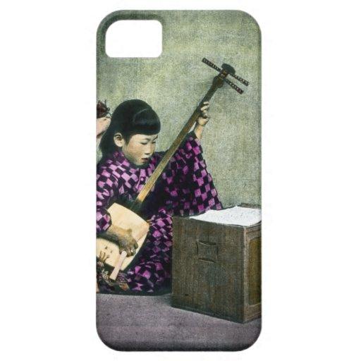 Vintage japonés de Shamisen del músico del chica iPhone 5 Coberturas