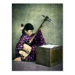 Vintage japonés de Shamisen del músico del chica Postales