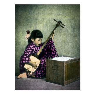 Vintage japonés de Shamisen del músico del chica Postal