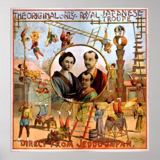 Vintage japonés real 1892 del circo de la compañía póster