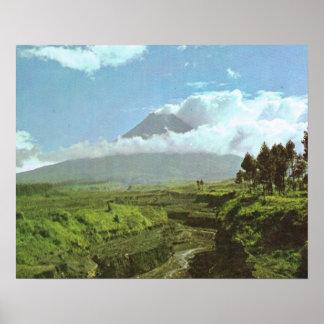 Vintage Java, Merapi Volcano Indonesia Poster