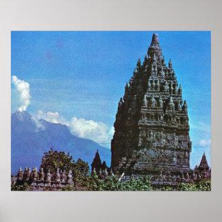 Vintage Java, Prambanan Ninth century Hindu temple Posters