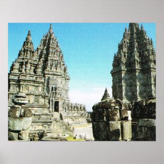 Vintage Java, Prambanan, temples Print