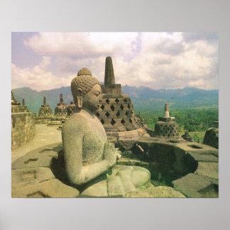 Vintage Java, templo de Borobodur, figura de Buda Póster