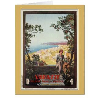 Vintage Jazz Age Varazze Italian travel poster Big Greeting Card