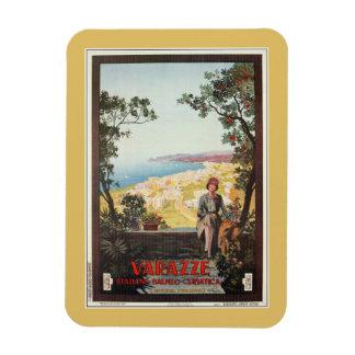 Vintage Jazz Age Varazze Italian travel poster Flexible Magnets