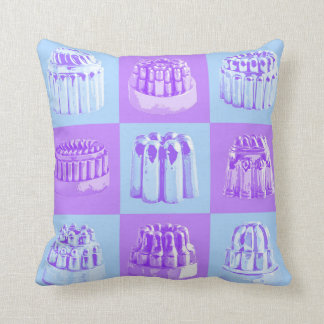 Vintage Jelly Mould Powder Blue and Lilac Cushion Throw Pillows