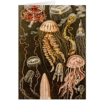 silvervintage Vintage Jellyfish Antique Jelly Fish Illustration Card
