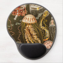 Vintage Jellyfish Antique Jelly Fish Template Gel Mouse Pad