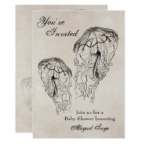 Vintage Jellyfish Baby Shower Beach Invitation