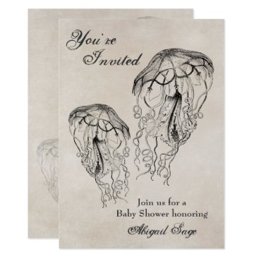 TheBeachBum Vintage Jellyfish Baby Shower Beach Invitation