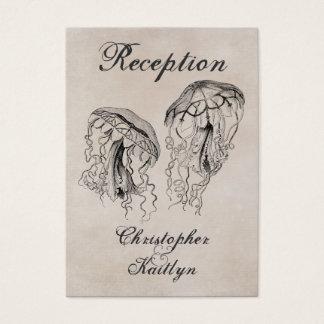 Vintage Jellyfish Beach Wedding Reception Cards