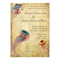 Vintage Jellyfish Wedding Invitation