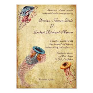Vintage Jellyfish Wedding Invitation