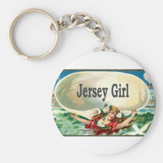 Vintage Jersey Shore Jersey Girl Basic Round Button Keychain