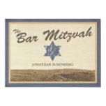 """Vintage Jerusalem Bar Mitzvah Invitation in Navy 5"""" X 7"""" Invitation Card"""