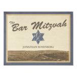 "Vintage Jerusalem Bar Mitzvah Reply Card in Navy 4.25"" X 5.5"" Invitation Card"