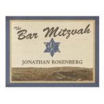 Vintage Jerusalem Bar Mitzvah Save The Date Navy Postcard